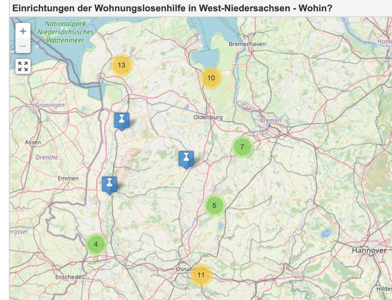 Einrichtungen der Wohnungslosenhilfe in West-Niedersachsen
